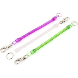 Unique Bargains 3Pcs Lobster Clasp Stretchy Spring Coil Keychain Key Holder Green Purple Clear