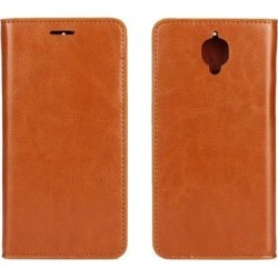 OnePlus 3/1+3 Case, iCoverCase Genuine Leather Wallet Case [Slim Fit] Folio Book Design with Stand and Card Slots Flip Case Cover for OnePlus 3/1+3.