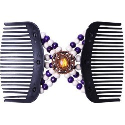 Magic Wooden Beads Double Hair Comb Clip Stretchy Hair Clip Women Purple