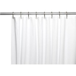 Carnation Home Fashions Living Room Decorative Shower Curtain Stall-Sized Clean Home Liner in White