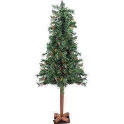 7' Pre-Lit Slim Green Artificial Christmas Tree - Multicolor Lights