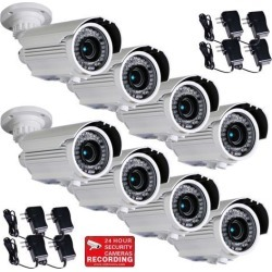 VideoSecu 8 Pack Outdoor Weatherproof Indoor Security Camera IR Day Night Vision Built-in 1/3 inch Sony CCD Effio 700TVL 4 - 9mm Varifocal 42 LEDs