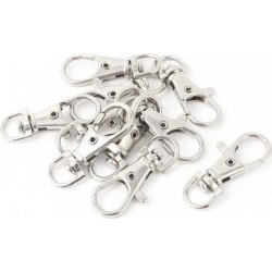 Unique Bargains 10 Pieces Silver Tone Lobster Clasp Key Holder Keychain 3.8cm Length