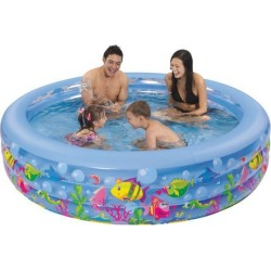 73' Blue and Green Round Inflatable Children's Swimming Pool