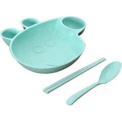 Kids Child Plate Flatware Set Spoon Chopsticks Dinnerware Tableware Green