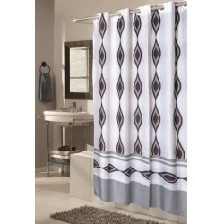 Carnation Home Fashions Shower Stall-Sized, EZ-ON Harlequin Polyester Shower Curtain