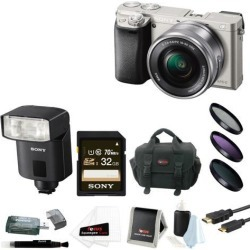 Sony a6000: Sony a6000 24.3 MP Camera w/ 16-50mm Lens (Silver) + HVL-F32M External Flash