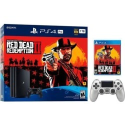 PlayStation 4 Pro 1TB Red Dead Redemption 2 Jet Black 4K HDR Gaming Console Bundle With an Extra Silver DualShock 4 Wireless Controller