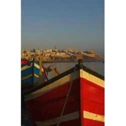 Posterazzi DPI1890425 Fishing Boats In Front of Kasbah Des Oudaias Poster Print, 12 x 19