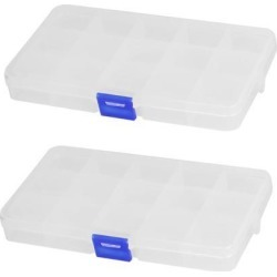 Unique Bargains Clear Blue Plastic 15 Sections Jewelry Screws Pills Holder Storage Box 2pcs