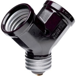 Pass & Seymour, 128, 15A, 125V, 600W, Single Lamp Holder to Twin Adapter Easy Converting Adapter