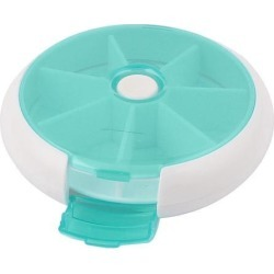 Unique Bargains Button Rotate 8 Compartment Medicine Tablet Pill Box Holder Organizer Dispenser found on Bargain Bro Philippines from Newegg Business for $6.61