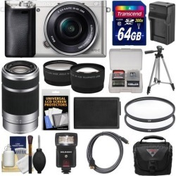 Sony Alpha A6000 Wi-Fi Digital Camera & 16-50mm Lens (Silver) with 55-210mm Lens + 64GB Card + Case + Flash + Battery/Charger + Tripod Kit