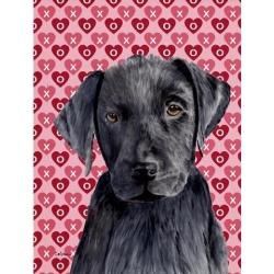 Carolines Treasures SC9275GF 15 x 15 In. Labrador Black Hearts Love Valentines Day Flag, Garden Size