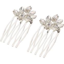 Crystal Rhinestone Wedding Pearls Hair Clip Comb Bride Rhinestone- Silver