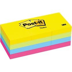 Post-it Notes 653-AU Ultra Color Self-Stick Notes, 1-1/2 x 2, Four Colors, 12 100-Sheet Pads/Pack