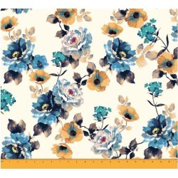 Soimoi 58 Inches Wide Dressmaking Floral Printed 60 GSM Cotton Fabric For Sewing By The Meter - White and Blue