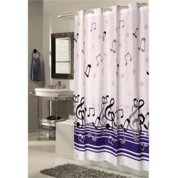 Carnation Home Fashions Shower Stall-Sized, EZ-ON Blue Notes Polyester Shower Curtain