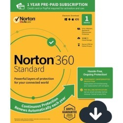 Norton 360 Standard - Antivirus software for 1 Device - Includes VPN, PC Cloud Backup & Dark Web Monitoring powered by LifeLock [Download]- 2020.