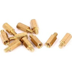 M3x9mm+4mm Male to Female Thread 0.5mm Pitch Brass Hex Standoff Spacer 10Pcs