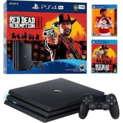 PlayStation 4 Pro 1TB Red Dead Redemption 2 Jet Black 4K HDR Gaming Console Bundle With Madden NFL 20 - 2019 New PS4 Game!