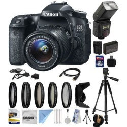 Canon EOS 70D Digital SLR Camera with 18-55mm STM Lens with 16GB Memory + Flash + Extra Battery + Charger + UV-CPL-FL-ND4-10x Macro Filters +.