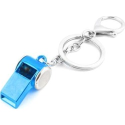 Unique Bargains Silver Tone Pale Blue Metal Whistle Pendant Keychain Key Ring Holder