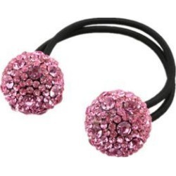 Women Hair Accessory Crystal Drill Ball Hair Ring Jewelry Pink