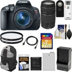 Canon EOS Rebel T5i Digital SLR Camera & EF-S 18-55mm IS STM Lens with EF 75-300mm III Lens + 32GB Card + Battery + Backpack + Filters + Accessory Kit