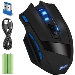 Zelotes Gaming Mouse, Zelotes 2.4G Wireless Portable Mobile Mouse 2400DPI Optical Mice with 2AAA Battery USB Receiver, 4 Adjustable DPI Levels, 9.