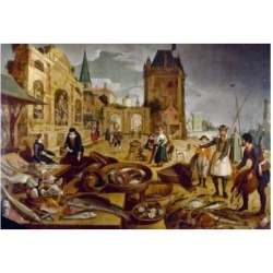 Posterazzi SAL900112941 The Fish Market by Sebastian Vrancx 1573-1647 Poster Print - 18 x 24 in.