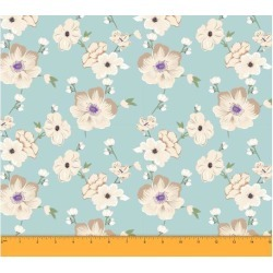 Soimoi Dressmaking 60 GSM Floral Printed Cotton Fabric For Sewing By The Meter 58 Inches Wide - Aqua