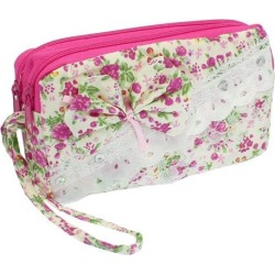 Unique Bargains Bowknot Decor Zipper Closure 2 Compartment Phone Wrist Bag Pink White found on Bargain Bro India from Newegg Canada for $7.40