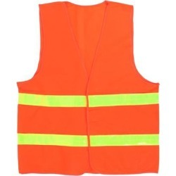 Unique Bargains Orange Red Nylon Visibility Safety Vest w Yellow Reflective Strips found on Bargain Bro India from Newegg Canada for $9.84