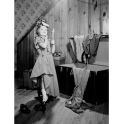 Posterazzi SAL255424886 Girl Trying on Mothers Clothes Poster Print - 18 x 24 in.