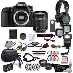 Canon EOS 80D DSLR Camera with Canon EF-S 18-55mm f/3.5-5.6 IS STM Lens Pro Filmmaker Kit International Model