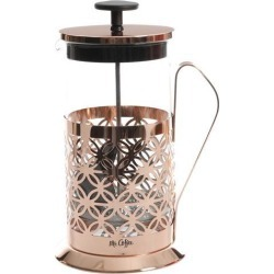 MR. COFFEE 120879.01 Rose Gold Trellise 32 Ounce Glass Coffee Press with Scoop, Rose Gold