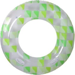 Inflatable Green and Clear Mosaic Swimming Pool Inner Tube Ring, 47-Inch