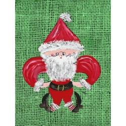 Carolines Treasures 8746GF Christmas Santa Fleur de lis Flag Garden Size