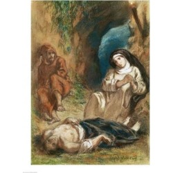 Posterazzi BALXIR189572LARGE Lelia in The Cave Poster Print by Eugene Delacroix - 24 x 36 in. - Large