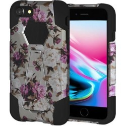 Amzer Dual Layer Designer Hybrid Case with Kickstand - Romantic Pink White Roses Floral for iPhone 8