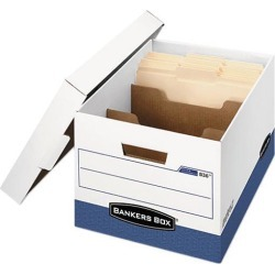 Bankers Box 0083601 R-Kive Maximum Strength Storage Box, Letter/Lgl, Locking Lid, White/Blue, 12/Ctn