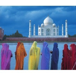 Posterazzi DPI1886687LARGE Women In Colorful Saris In Front of The Taj Mahal Poster Print, 30 x 26 - Large