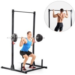 Soozier Adjustable Power Squat Rack Strength Training Fitness Pull Up Weight Home Gym Steel Black