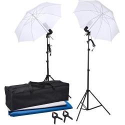 Flat Clothing Photography Kit 2x 33' Translucent White Umbrella Set w/ backdrop