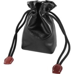 Black Faux Leather Drawstring Carry Bag Pouch Case for Digital SLR Camera Lens