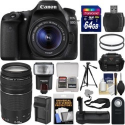 Canon EOS 80D Wi-Fi Digital SLR Camera & EF-S 18-55mm IS STM + 75-300mm III Lens + 64GB Card + Case + Flash + Battery & Charger + Grip + Tripod Kit