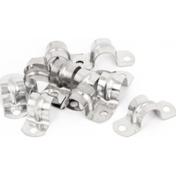 Unique Bargains 10pcs 2-Hole Metal Rigid Conduit Pipe Straps Clips Clamps for 16mm Dia Tube