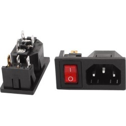 2 Pcs 250V 10A 3 Terminals Red Lamp Inlet Male Power Socket Connector