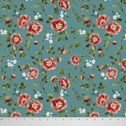 Soimoi Dressmaking 58 Inches Wide Floral Printed 60 GSM Cotton Fabric For Sewing By The Meter - Teal Green